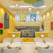 甜品店明亮背景墙装饰