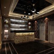 欧式酒窖黑色吧台装饰