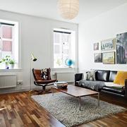 单身公寓简约风格皮制沙发装饰