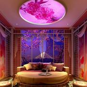 中式酒店卧室床头背景墙