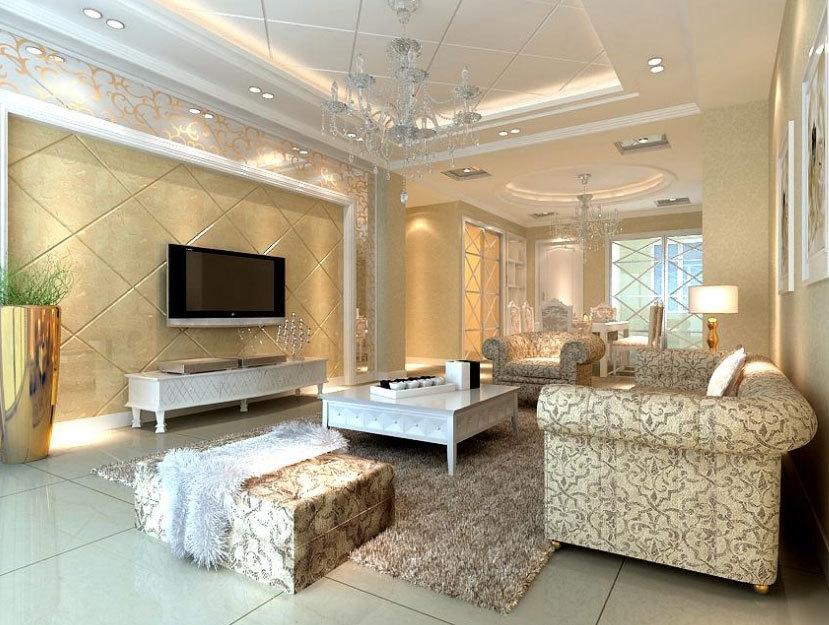 高贵的90平米大户型欧式客厅吊顶装修效果图欣赏大全