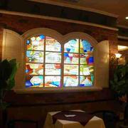 欧式西餐厅拱形窗户装修