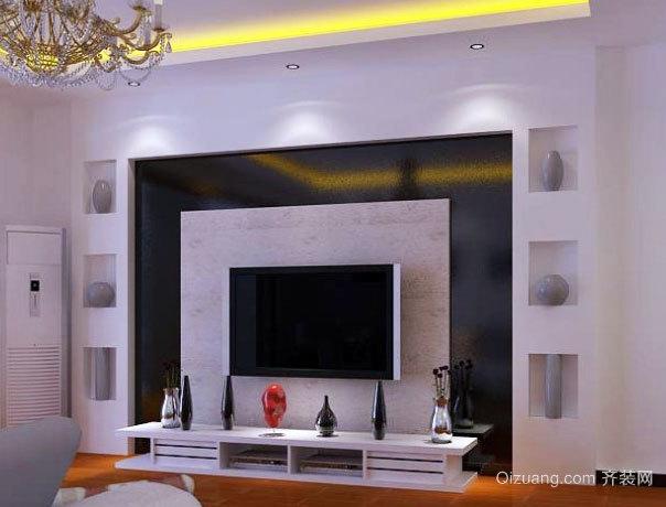 120平米现代简约风格客厅石膏板都是背景墙装修