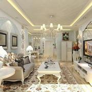 欧式纯白色客厅设计