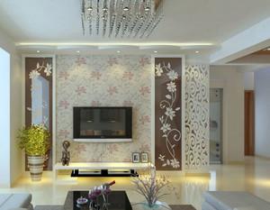 90平米大户型客厅电视背景墙壁纸装修效果图
