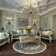 欧式精致浅绿色客厅装饰