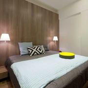 两室一厅卧室原木背景墙设计