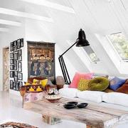 美式斜顶阁楼客厅装饰