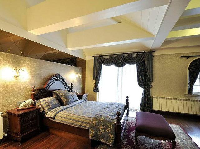 专为别墅设计的后现代深色装修的卧室设计图