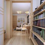 日式小型书房整体书架效果图