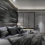 后现代风格卧室深色背景墙装修