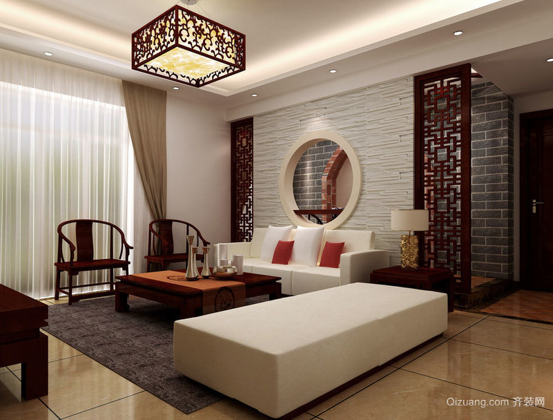 色调凝重的大户型中式客厅装修效果图欣赏大全