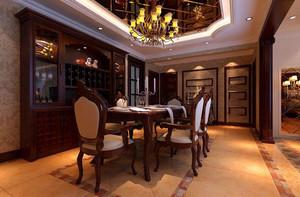 欧式原木深色餐厅设计