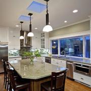 美式厨房大理石吧台设计