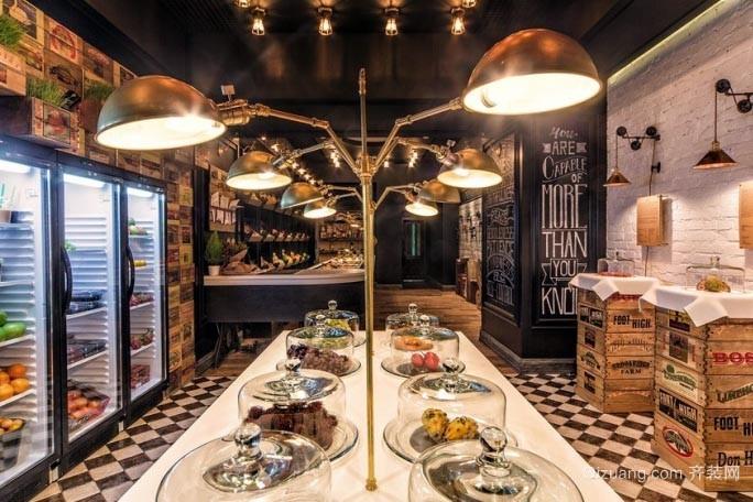 明亮鲜艳的港台式小户型甜品店室内装修设计效果图