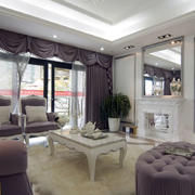 紫色欧式客厅沙发设计