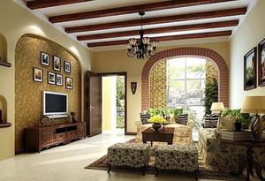 120平米优雅大气的美式风格客厅装修效果图