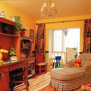 儿童房原木深色桌柜设计