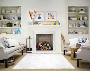 美式客厅整体置物架设计