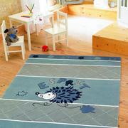蓝色简约客厅地毯设计