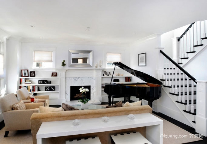 精简黑白 现代大气的小复式楼客厅装修效果图