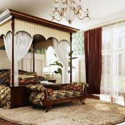 美式别墅深色卧室窗帘装修