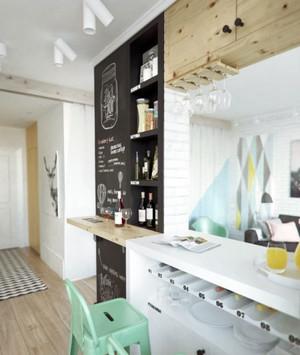 客厅必备:清新雅致北欧混搭风格吧台装修效果图