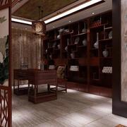 中式书房实木书架