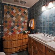 别墅简约木制浴缸效果图