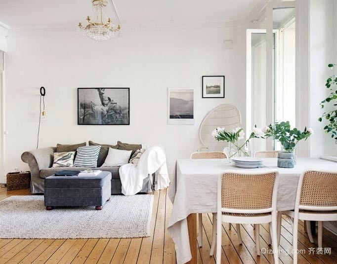 非常适合小女生的清纯白色系家居客厅装修效果图欣赏