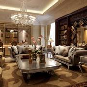 欧式错层深色客厅装饰