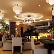 现代简约风格咖啡厅创意吊顶