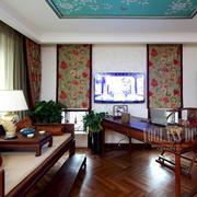 中式客厅深色原木床饰设计