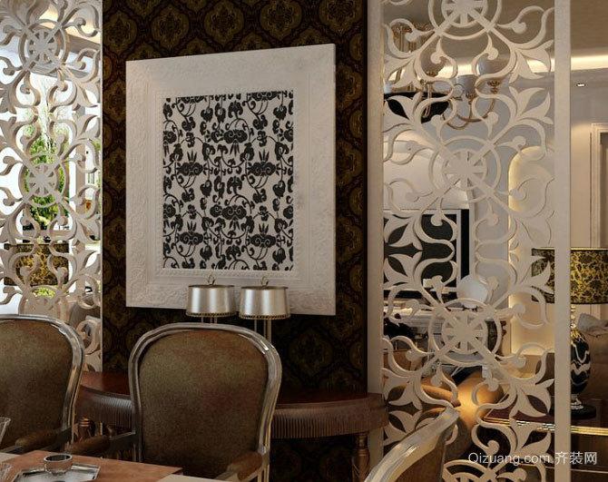 120平米全新简欧风格客餐厅一体化餐厅背景墙设计
