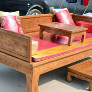 中式浅色原木床装修