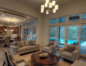 120平米美式风格3D室内客厅装修效果图
