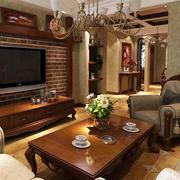 美式客厅原木茶几装饰