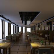 简约风格西餐厅石膏板吊顶