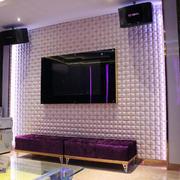 简约紫色现代客厅背景墙