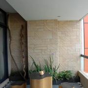 阳台古意木制桌椅效果图
