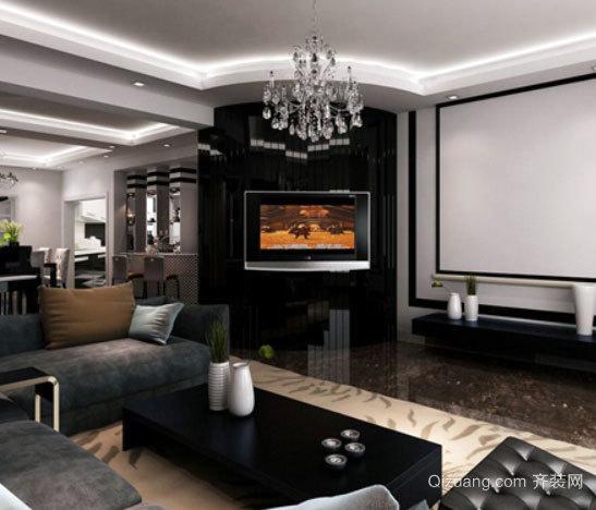 120平米极具理性的后现代风格深色客厅装修设计