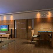 家庭原木客厅装饰