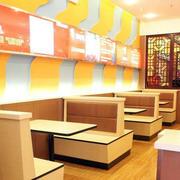 简约原木色快餐店桌椅设计