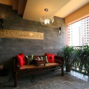 中式阳台桌椅装饰