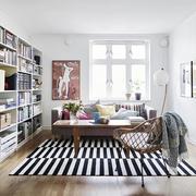 北欧风格客厅书架设计