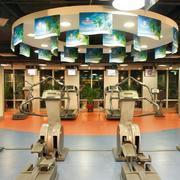 大型健身房圆形创意吊顶