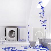 青花瓷花纹地板设计