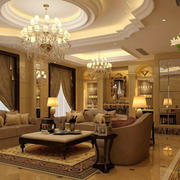 别墅欧式客厅石膏线设计