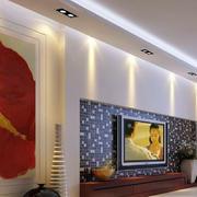 深色复式楼客厅背景墙