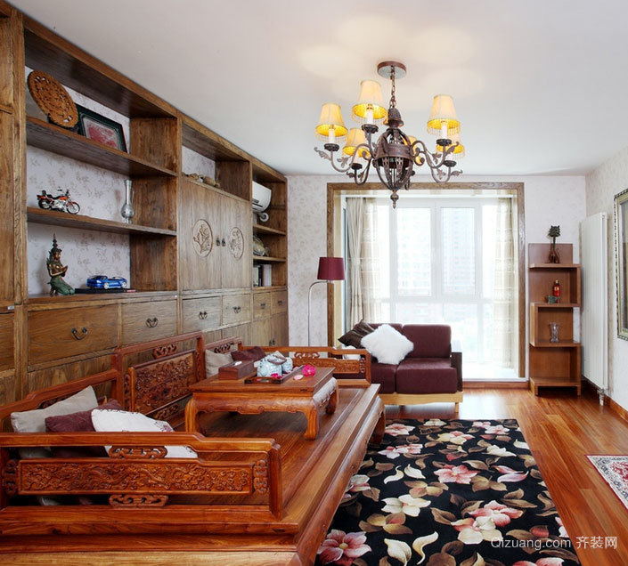 新中式客厅罗汉床装修效果图